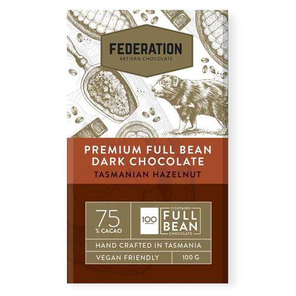 fudgey - Single Origin Papua New Guinea 74% Dark CACAO With Tasmanian Roasted Hazelnuts