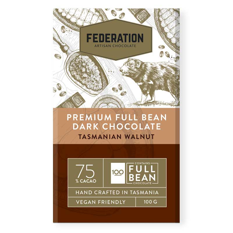 fudgey - Single Origin Papua New Guinea 74% Dark CACAO With Tasmanian Walnuts - Federation Artisan Chocolate
