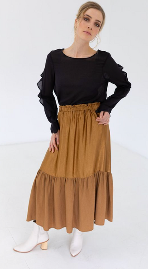 Staple & Cloth | Antique Gold | Maxi Skirt