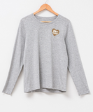 Stella + Gemma | Grey Long Sleeve with Cheetah Heart