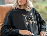 Stella + Gemma | Leopard Arrows Sweater | Black