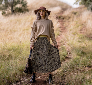 Stella + Gemma | Pleated Skirt | Leopard