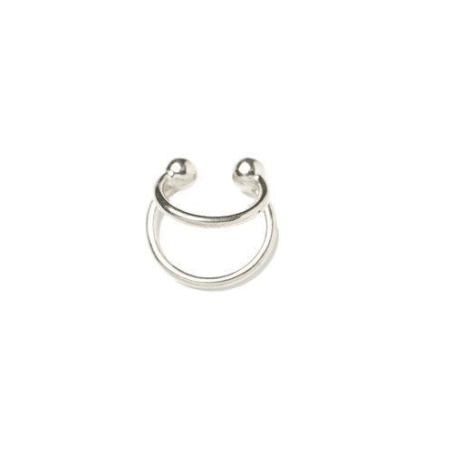 ANNA EARCLIP - double rings, silver