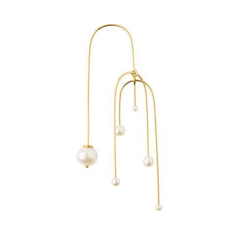 IRIS EARRING MOBILE 5 PEARLS, gold