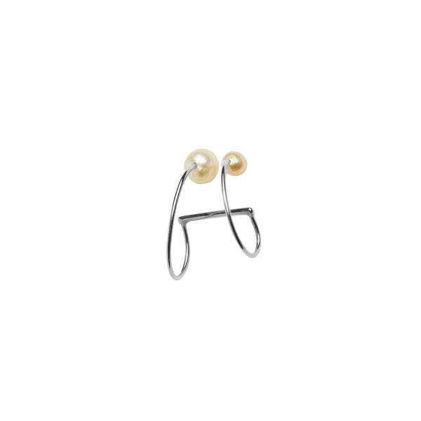 Iris Earclip 2 pearls Large - Vibe Harsløf Jewelry