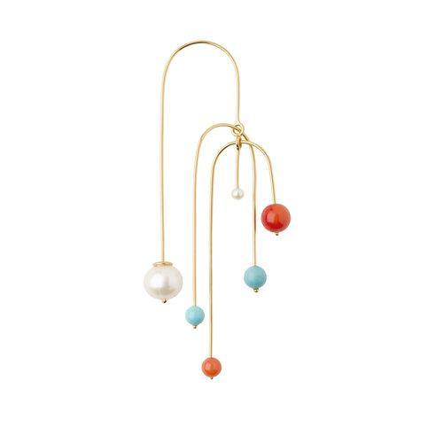 LANA EARRING MOBILE W 5 BEADS gold