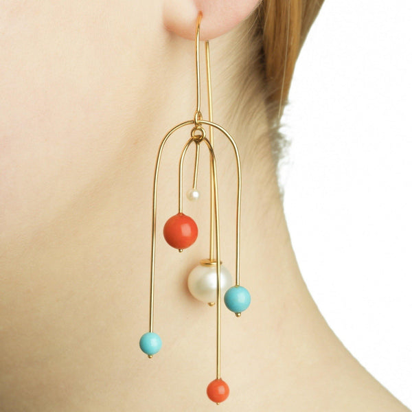 LANA EARRING MOBILE W 5 BEADS