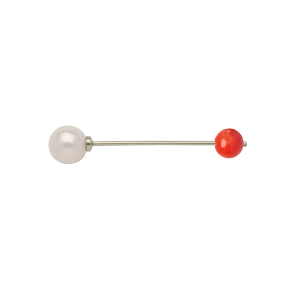 LANA EARRING PIERCING BAR W CORAL, goldplated