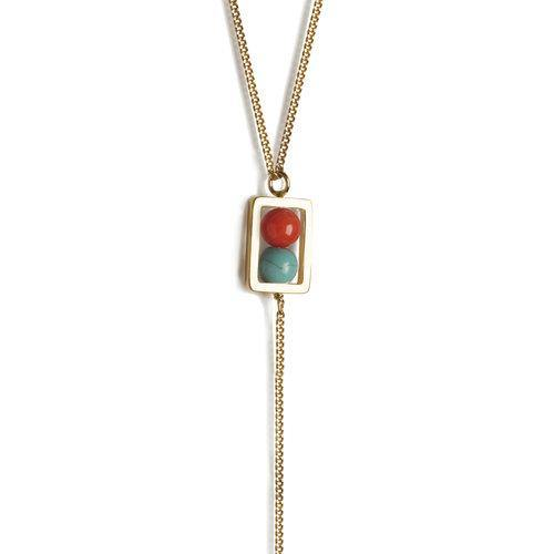 LANA NECKLACE, Turquoise, coral, malachite gold