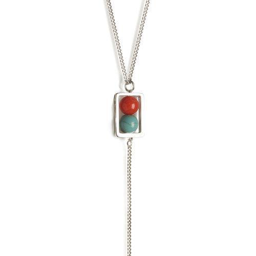 LANA NECKLACE, Turquoise, coral, malachite, silver