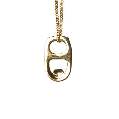 BEER CAN NECKLACE, gold