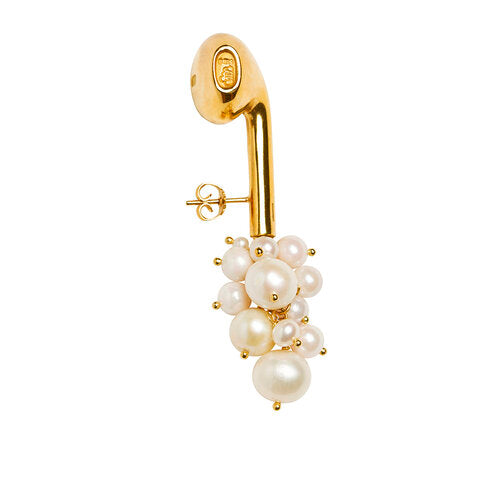 WE earphone w cluster of pearls