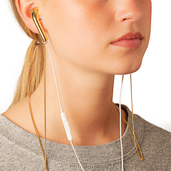 Chain w double Caps for earphones - Vibe Harsløf Jewelry