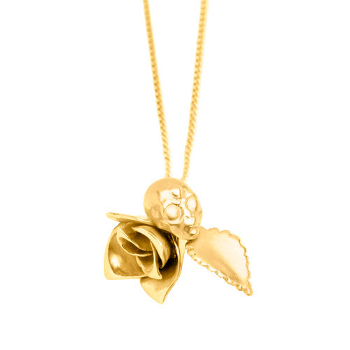 ROSE AND ALIEN NECKLACE, gold