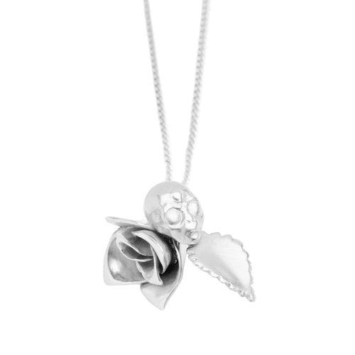 ROSE AND ALIEN NECKLACE, silver
