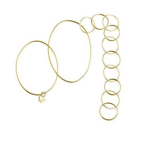 DOUBLE BANGLE w 10 RINGS, gold