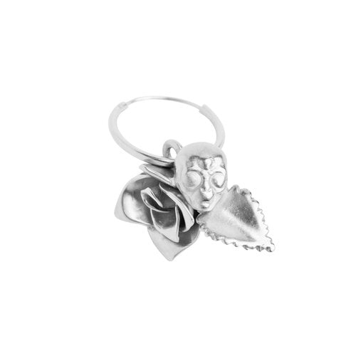 ROSE AND ALIEN EARRING SMALL, silver