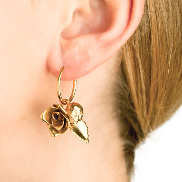 ROSE AND ALIEN EARRING SMALL