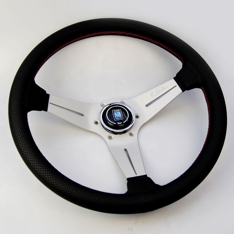 Nardi Deep Corn Steering Wheel - Perforated Leather Red Stitch Silver Spoke - 350mm