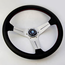 Load image into Gallery viewer, Nardi Deep Corn Steering Wheel - Perforated Leather Red Stitch Silver Spoke - 350mm