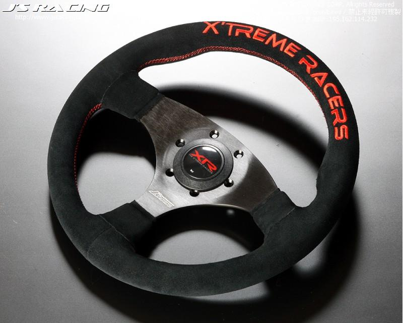 J's Racing S2000 XR Steering TYPE-F Suede-Red Stitch