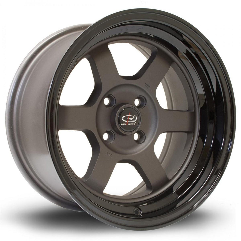 Rota Grid-V in Flat Gunmetal with Gloss Black Lip 15x8, 4x100, ET0