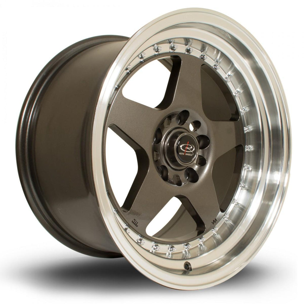 Rota Kyusha in Gunmetal with polished lip 17x9, 5x120, ET20