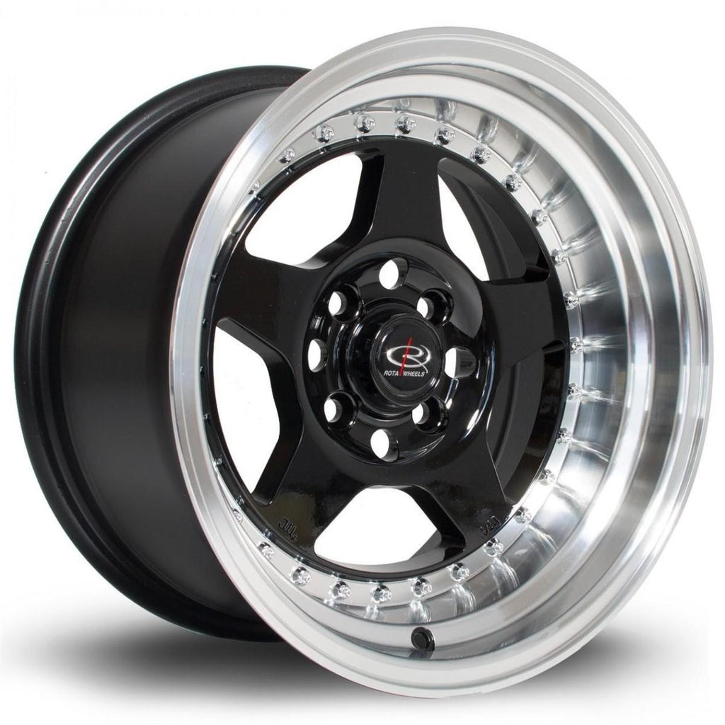 Rota Kyusha in Gloss Black with polished lip 15x9, 4x114.3, ET0