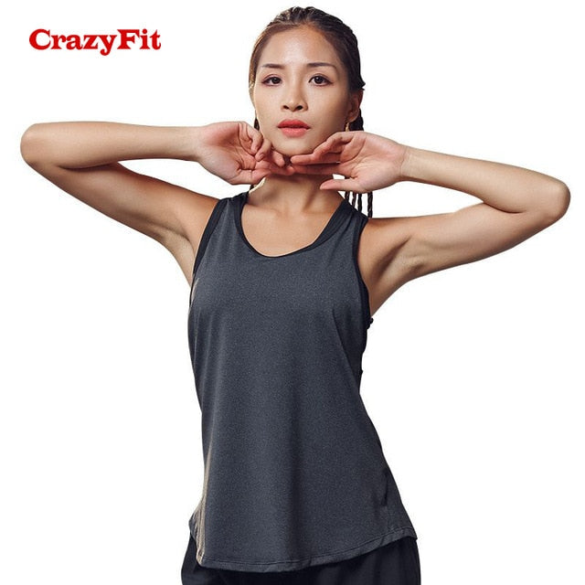 fit-sleeves - CrazyFit Yoga Top With Bras Sports Bra Running Gym Tank Women Fitness Workout Female Open Back Tops Clothing Sport Shirt - Fit Sleeves -