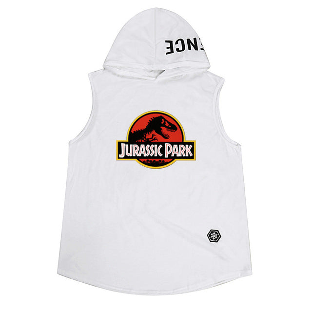 fit-sleeves - Jurassic Park Fashion Men's Sleeveless Hoodie Bodybuilding Workout Tank Print Tops Muscle Fitness T Shirts Men - Fit Sleeves -