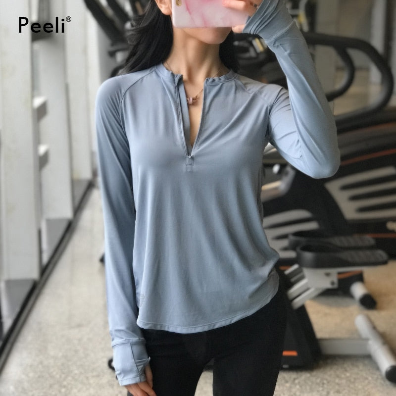 fit-sleeves - Peeli Long Sleeve Yoga Top Fitness Sports Women Jerseys Workout T shirts Quick Dry Yoga Shirt Exercise Gym Tank Tops Activewear - Fit Sleeves -