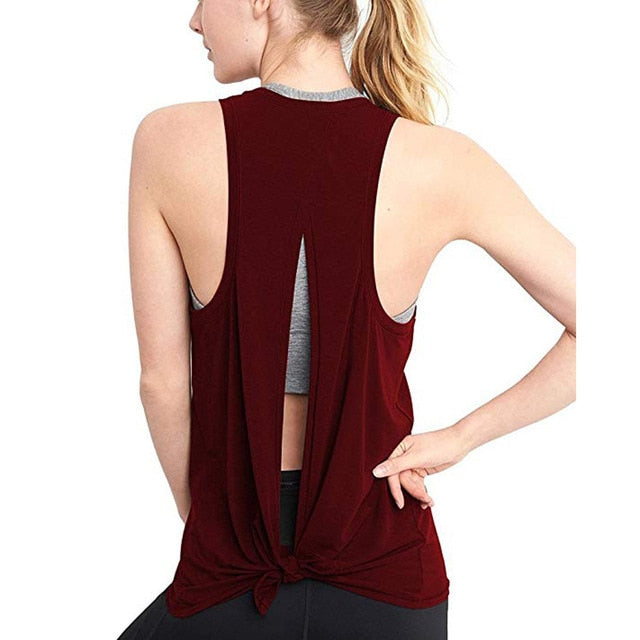 "fit-sleeves - ""Knotted Open Back"" Workout Tank Top - Fit Sleeves -"