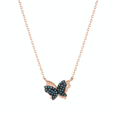 Blue Diamond Butterflies Necklace