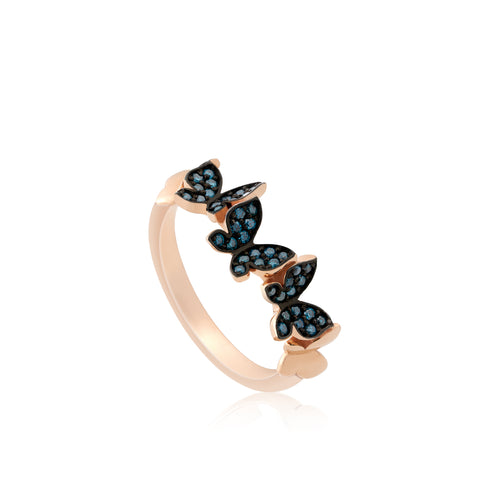 Blue Diamond Butterflies Ring