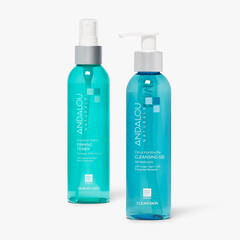 Clear Skin Citrus Kombucha Cleansing Gel and Quenching Coconut Water Firming Toner,