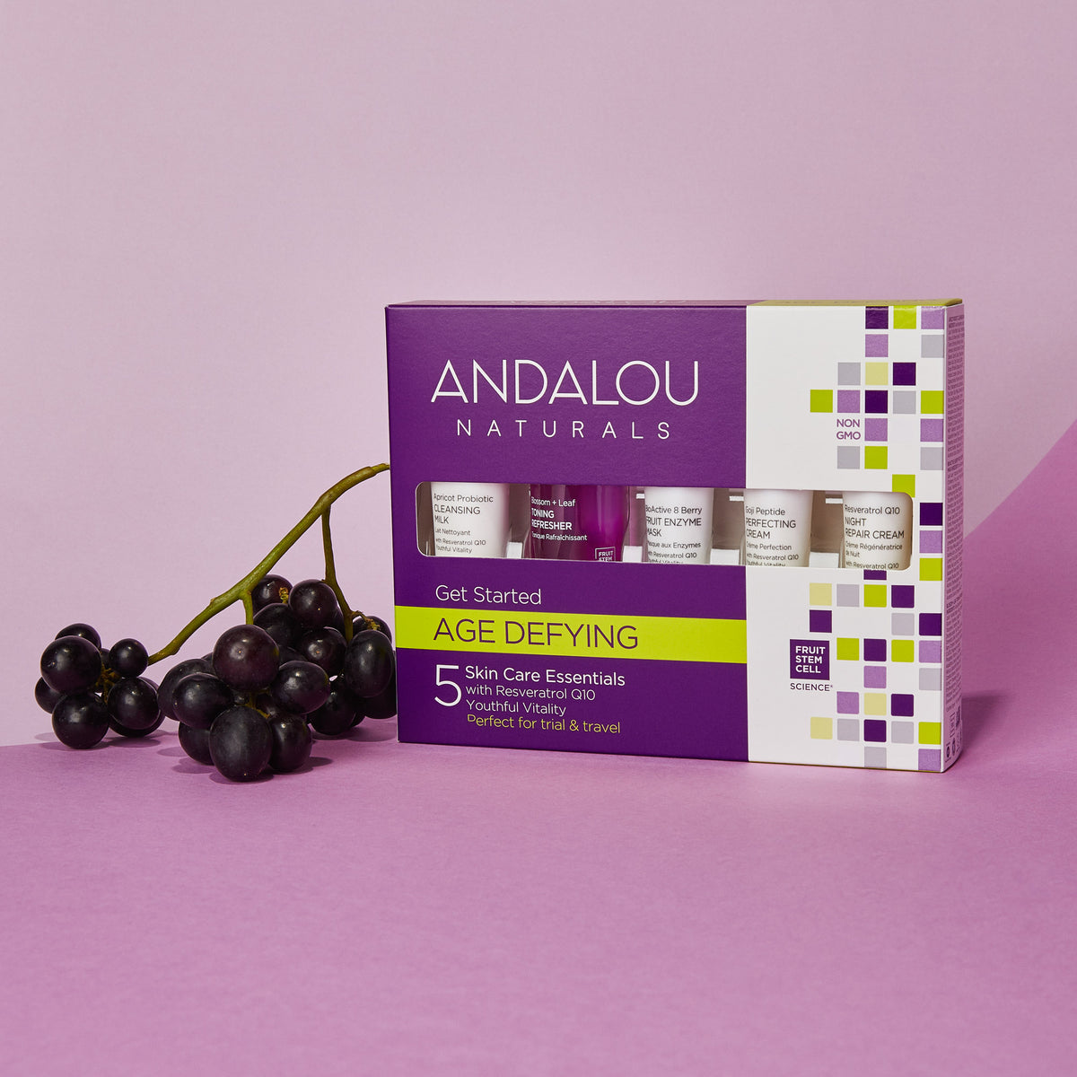 Age Defying Get Started Kit packaging with concord grapes