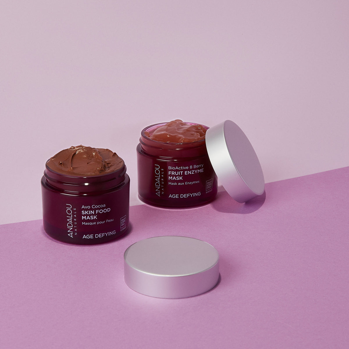 open jars of Andalou Naturals Age Defying Avo Cocoa Skin Food Mask