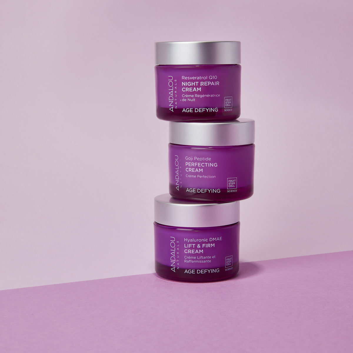 Andalou Naturals Age Defying Hyaluronic DMAE Lift & Firm Cream jars