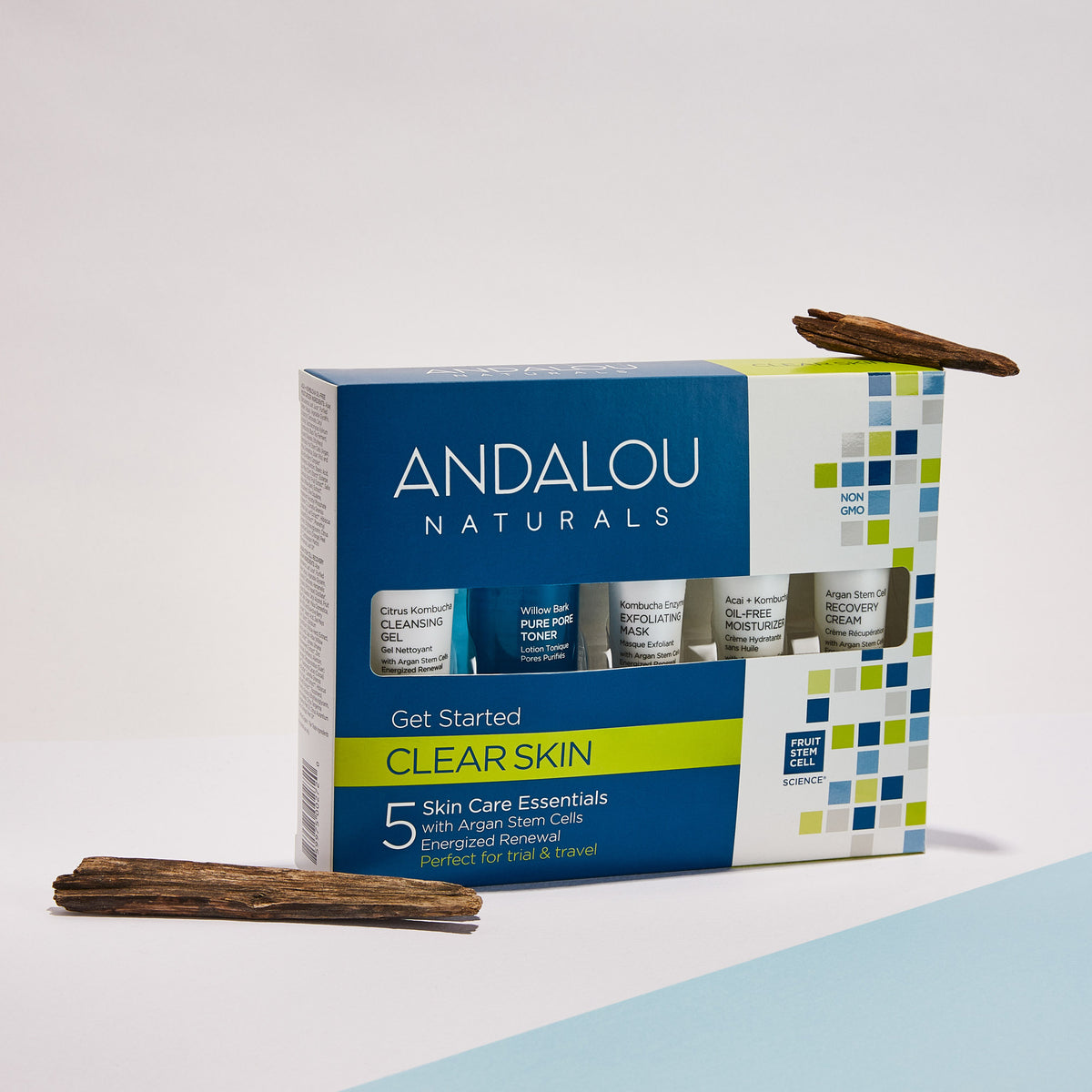 Andalou Naturals Clear Skin Get Started Kit packaging with aloe vera