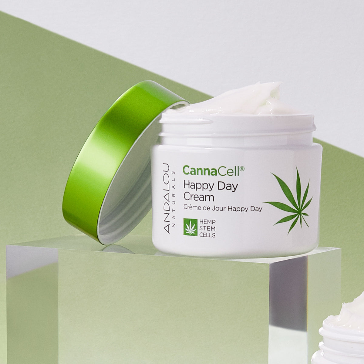 open jar of Andalou Naturals CannaCell Happy Day Cream
