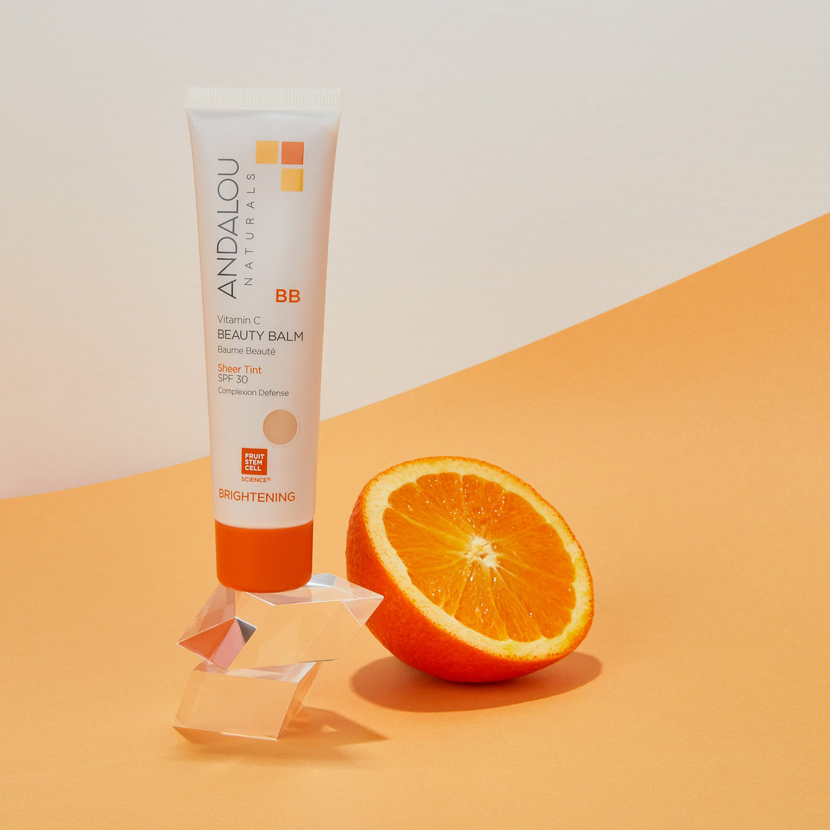 Andalou Naturals Brightening Vitamin C BB Beauty Balm Sheer Tint SPF 30 with navel orange