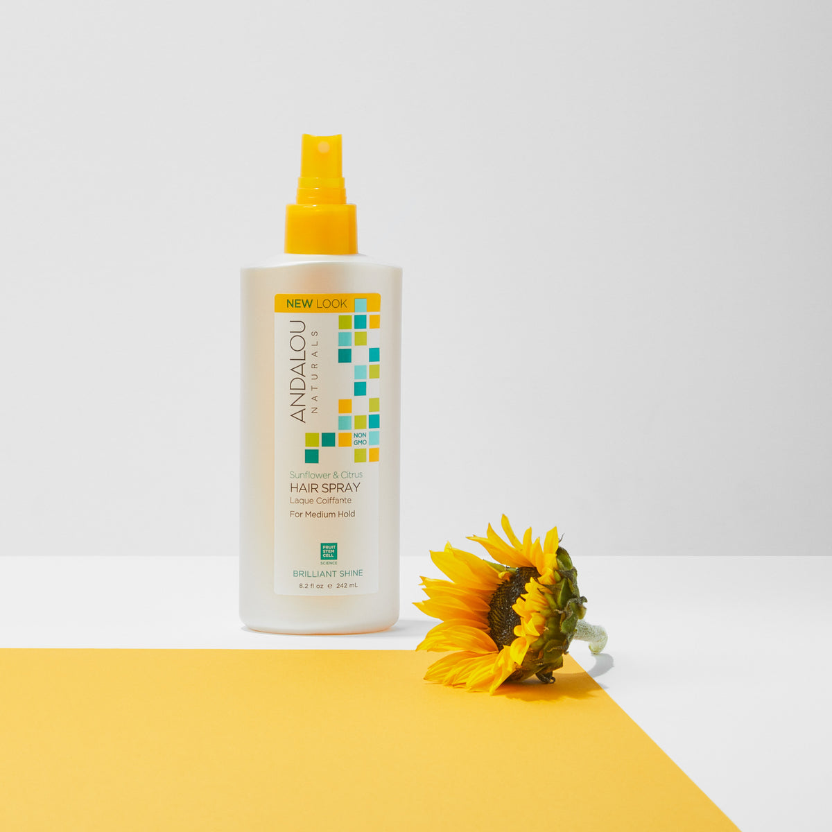 Andalou Naturals Sunflower & Citrus Brilliant Shine Hair Spray and sunflower