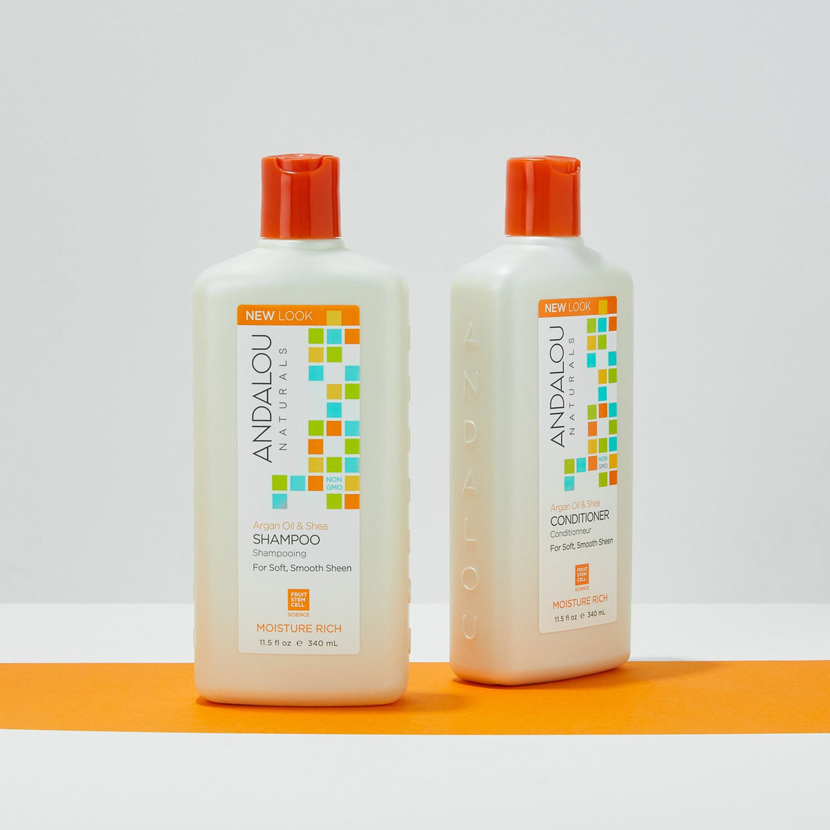 Andalou Naturals Argan Oil & Shea Moisture Rich Conditioner bottles