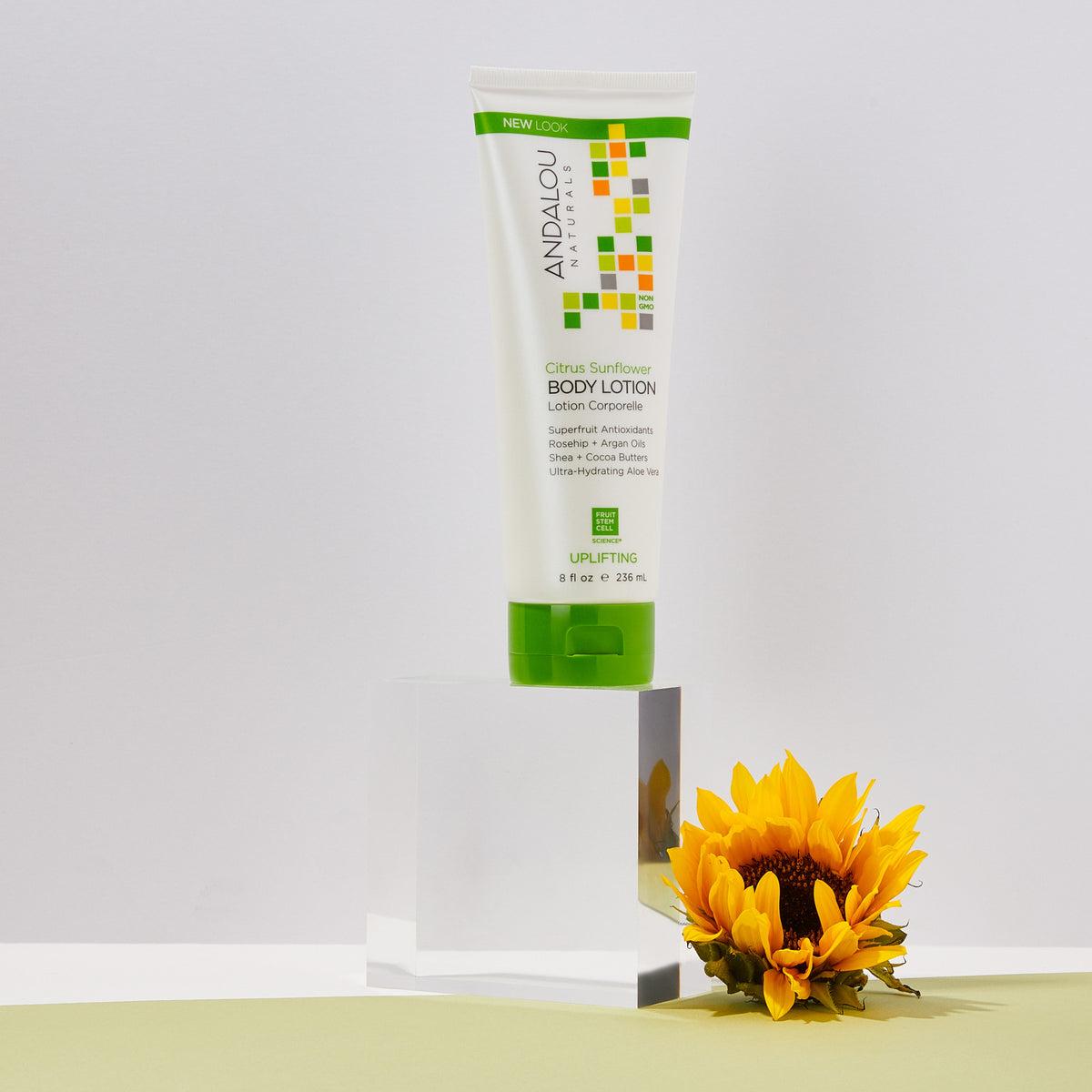 Andalou Naturals Citrus Sunflower Uplifting Body Lotion with a sunflower