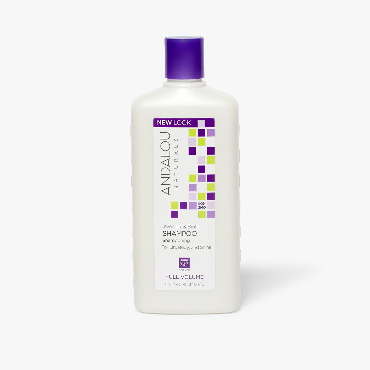 bottle of Andalou Naturals Lavender & Biotin Full Volume Shampoo