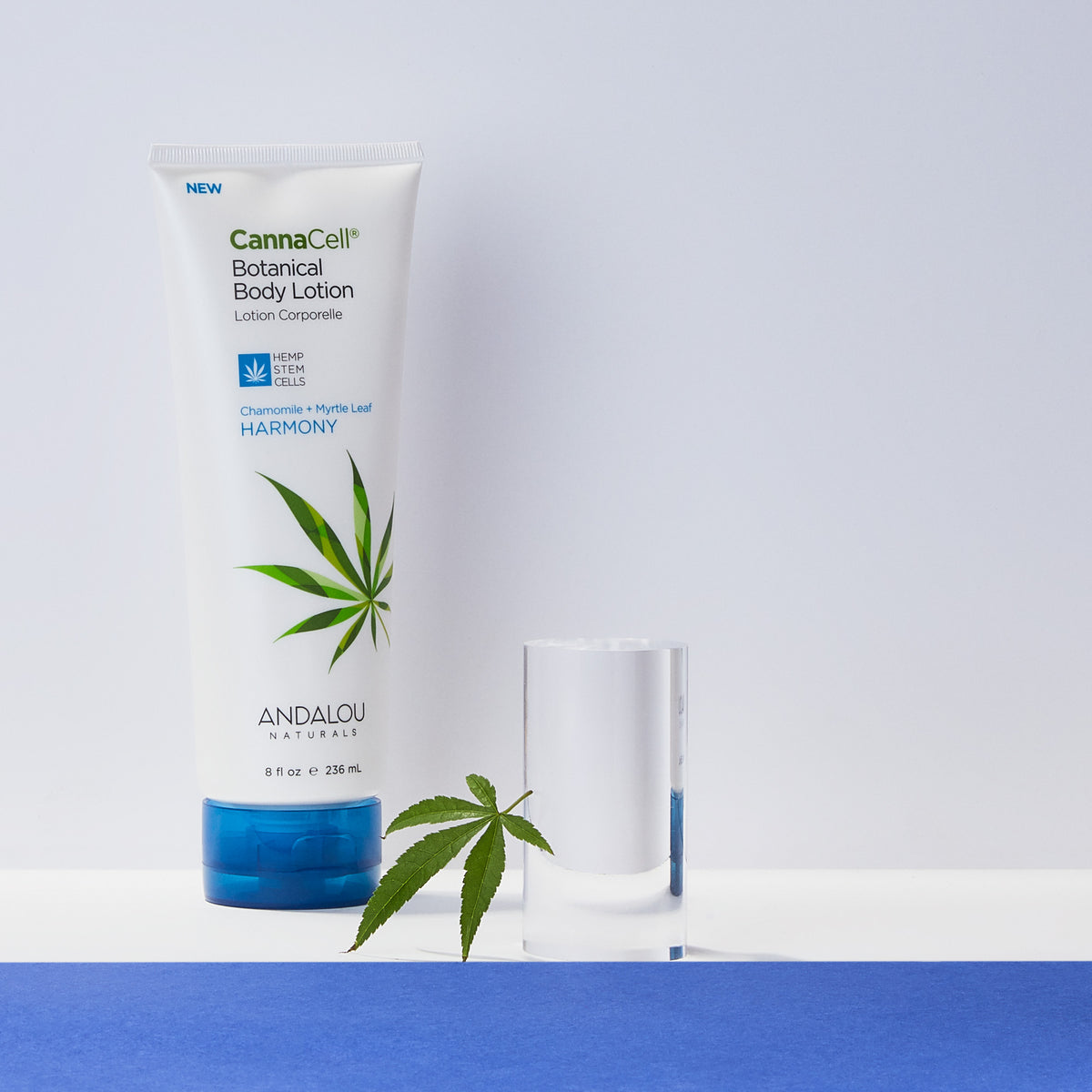 Andalou Naturals CannaCell Body Lotion Harmony with a hemp leaf