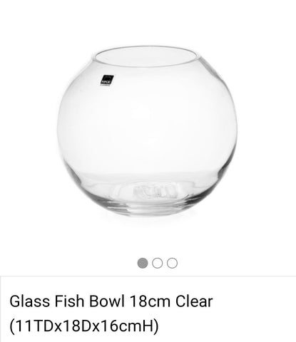 Glass Fish Bowl 18cm Clear