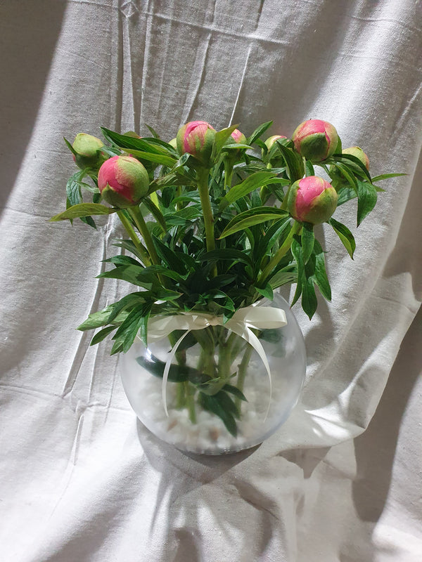 Peonies & medium fish bowl