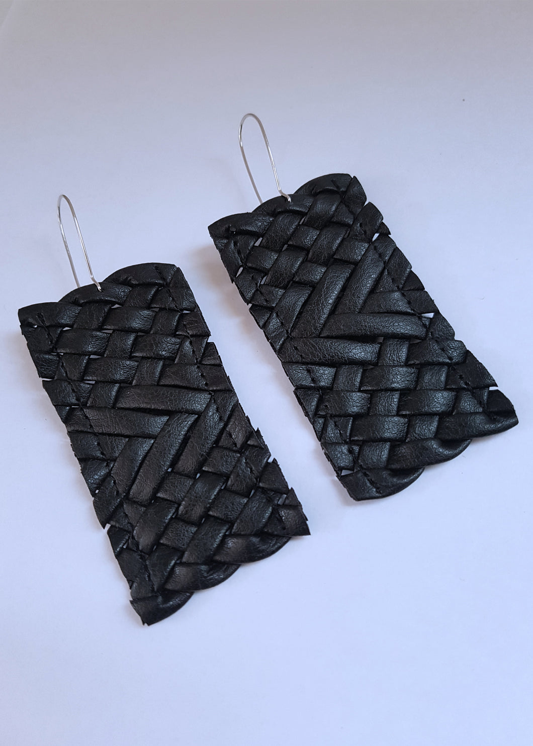 Black Weave Drop Earrings