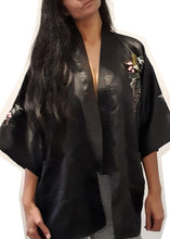 Load image into Gallery viewer, Black Satin Kimono